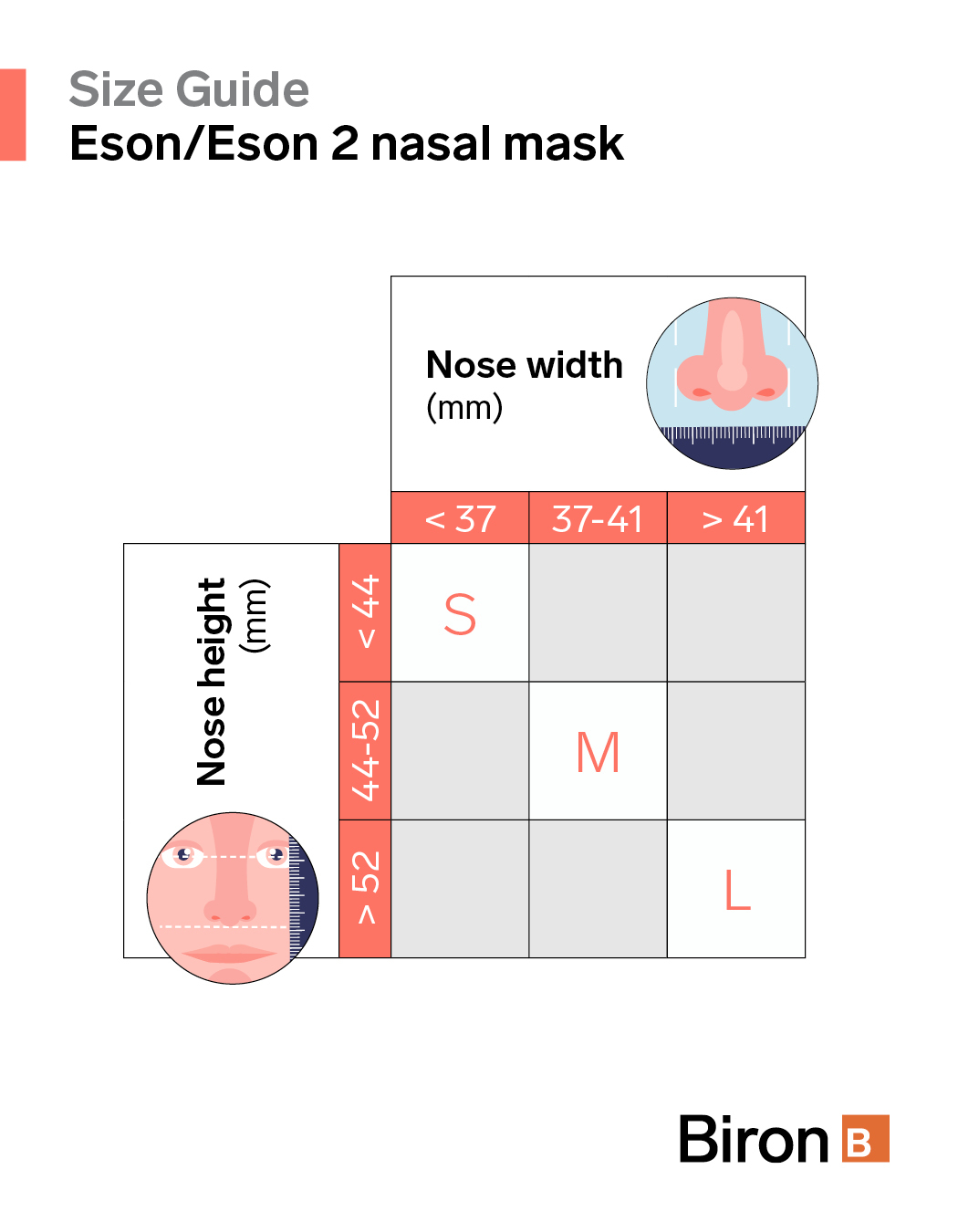 Size guide Eson/Eson 2 nasal mask