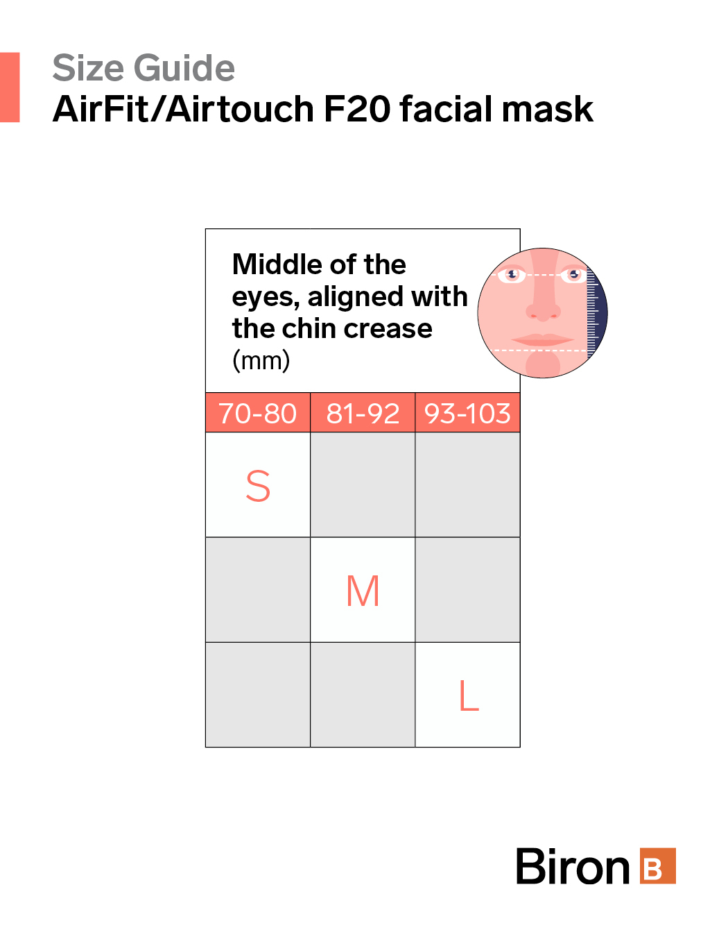Size guide AirFit F20 facial mask